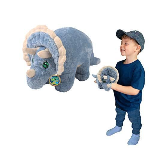 Juguete Suave del Triceratops de EcoBuddiez, Medio (los 25cm) - Juguete Suave y mimoso del Dinosaurio de Deluxebase. Hecho de Las Botellas plásticas recicladas. Regalo mimoso niños.