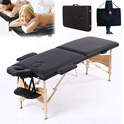 Massage Tafel Draagbare Lichtgewicht 2-Sectie Houten Opvouwbare Salon Massage Spa Bed Schoonheidsbank voor Reiki Therapie Behandeling Genezing met Draagtas (Zwart)