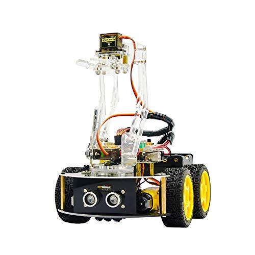 KEYESTUDIO 4WD Bluetooth Smart Car Robot Arm Kit for Arduino Programmable Robotics Set for Adults