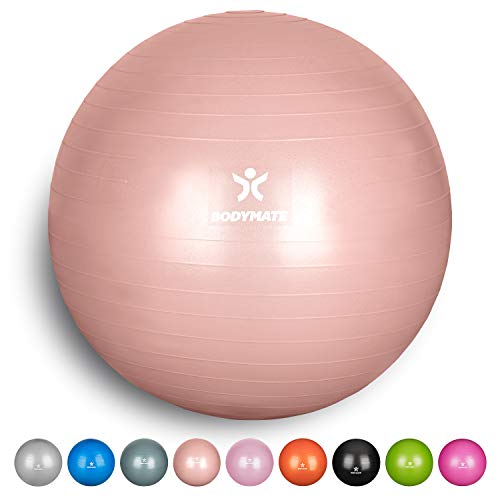 BODYMATE Exercise Ball - E-book with exercise guides included - Gym-quality Swiss balls for fitness, birthing, pregnancy - Air pump included - Anti-Burst - 65cm - Rose Gold