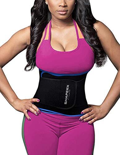 SHAPERX Waist Trainer Trimmer Slimming Belt Hot Neoprene Sauna Sweat Belly Band Weight Loss,SZ8010-Blue-L