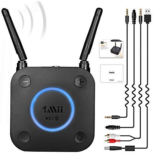 1mii B06 Pro Récepteur Audio sans Fil aptX Low Latency, Adaptateur Bluetooth 5.0 pour Système Stéréo Domestique, avec Faible Latence 3D Surround, Optical RCA AUX 3,5mm et Coaxial 【Upgraded】