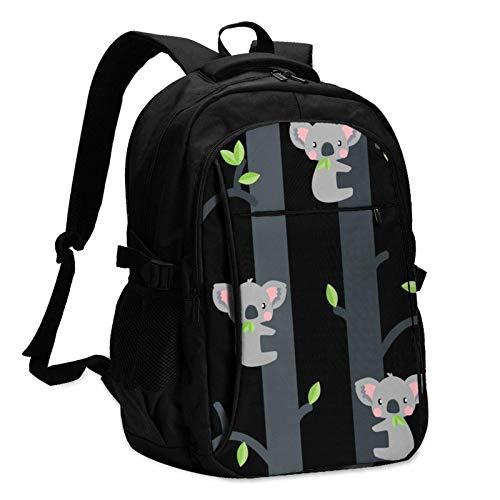 XCNGG Cute Koalas Travel Laptop Backpack with USB Charging Port Multifunction Work School Bag
