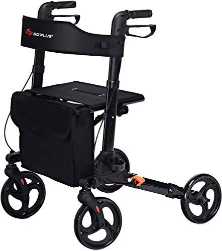Miwaimao lichtgewicht opklapbare rollator met zitje Walker | transportstoel, dubbele veiligheidsrem, in hoogte verstelbare loophulpmiddel wielen 4 planten/weergavevector en verwijderbaa.