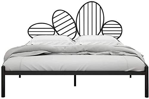Mnjin Estructura de Cama de Metal para Dormitorio, tamaño Doble, Base de colchón de Plataforma única, con cabecera y pie de Cama, Estructura de Tubo de Metal Resistente, Altura para Almacenamiento