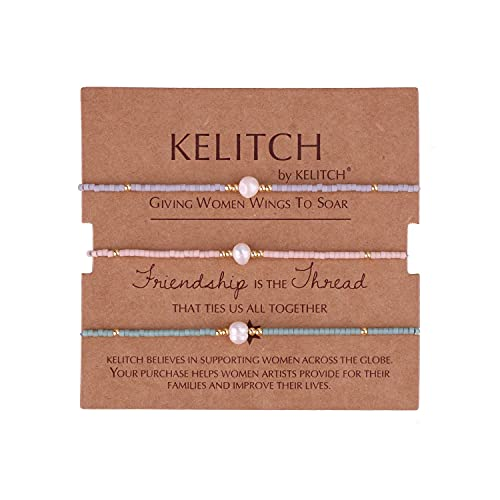 KELITCH 3 Pcs Glück Miyuki Perlen Strang Armbänder Freundschaft Armband Armreifen Mädchen Kette Armbänder (Farbe 02C)