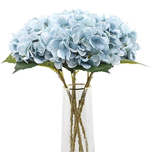 Decpro 6 Piezas de hortensias Artificiales, 6,6'' de Flores de Seda de hortensias de un Solo Tallo para Ramos de Novia, decoración de Fiesta de Hotel de Oficina en casa, centros de Mesa(Azul)