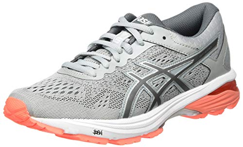 Asics T7A9N9697, Zapatillas de Running Mujer, Gris (Mid Grey/Carbon/Flash Coral), 39 EU