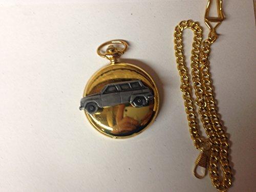 Saab 95 ref215 auto stemma in peltro effetto lucido, colore: oro su una custodia regalo orologio da taschino al quarzo, made in sheffield