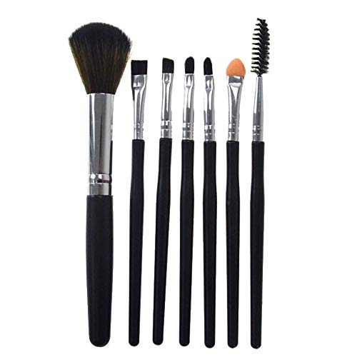 Lot de 7 Set Outils Pinceaux Maquillage Pinceaux pour le Yeux Ombre à Paupières Sourcils Shader Concealer Cosmetics Brush, Silicone Pinceau fard à paupières Pinceau de mélange de cosmétiques(Noir)