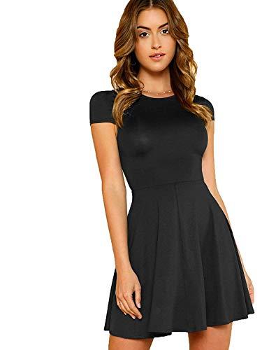 Milumia Women's V Back Fit and Flare Short Sleeve Stretchy Short Swing Mini Basic Dress Black X-Small