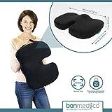 Bonmedico® Orthopädisches Sitzkissen mit innovativer Gel-Beschichtung, wirkt schmerzreduzierend, sorgt für gerade Körperhaltung und Steißbein-Entlastung, geeignet für Auto, Büro- & Rollstuhl sowie Reisen, in Schwarz oder Blau (Schwarz) - 6