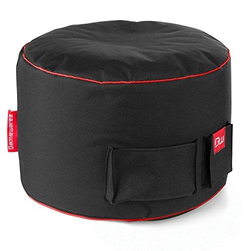 GAMEWAREZ Crimson Station 2.0 Sitzhocker/Fußbank für Crimson Thunder Gaming Sitzsack, Made in Germany. Schwarz mit rotem Keder und Taschen