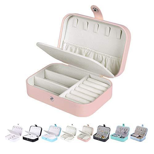 Homaxy Schmuckkästchen Damen Klein Schmuckbox PU-Leder Reisen Schmuck Aufbewahrungsbox Mädchen Schmuckschatulle für Ohrringe Ringe – Rosa (Doppelschicht)