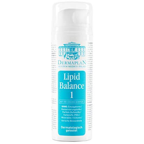 DERMAPLAN - Lipid Balance 1 - Creme für trockene Haut bei Neurodermitis oder Schuppenflechte 150ml - Sommer Hautcreme für Gesicht + Körper - Leicht & schnell einziehend - Made in Germany – vegan