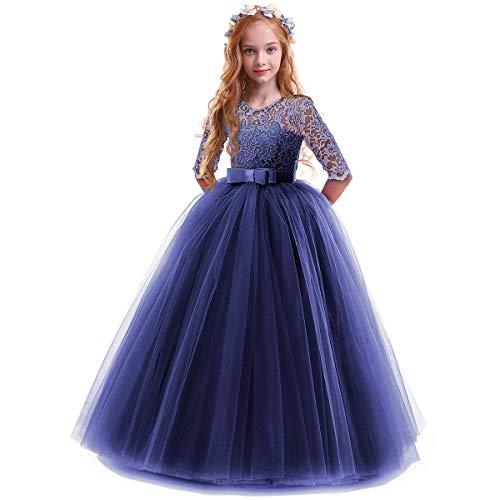 OBEEII Robe Princesse Fille 3/4 Manche en Dentelle Florale Elegante Costume Habillé 9-10 Ans Marine