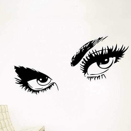 BZDHWWH Big Eyes Sticker Mural Maison Décalcomanie Longs Cils Design Sticker Décoratif Couleur Noire Élégante Nouveau Cadeau De Mode