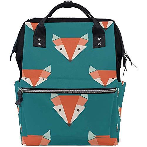 Bag Cartoon Fox Face Multi-Function Grande Capacité Diaper Travel Backpack Baby Bags Zipper Casual Backpacks Mom Dad Unisex 28X18X40Cm