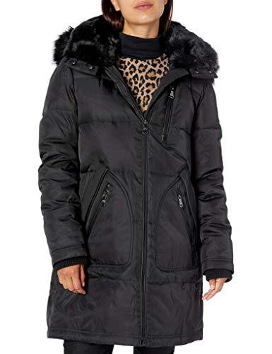 Vince Camuto Women's Heavyweight Warm Winter Parka Jacket Coat, Black, Medium