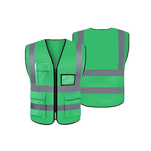 LUOSFUH Grün Waschbare Reflektierende Sicherheitsweste Warnweste Schutzweste Schutzweste für den Außenbereich, XL