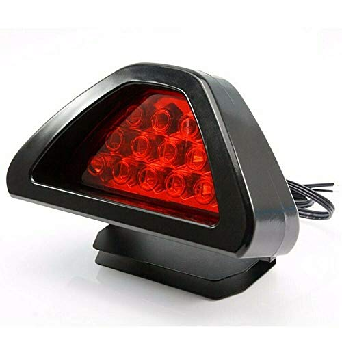 Riloer Luz de Freno Trasero del Coche, Tercera Luz de Parada de 12V Universal 12 LED, Lámpara de Cola Antiniebla con Flash Estroboscópico, Luz Roja y Carcasa Roja
