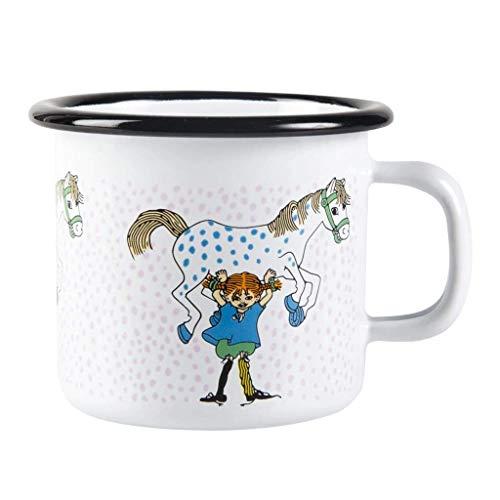 Pippi Langstrumpf Tasse, Emaille, 250ml, Tasse mit Pippi und Kleinen Onkel für Jungen, Mädchen, Kinder und Erwachsene