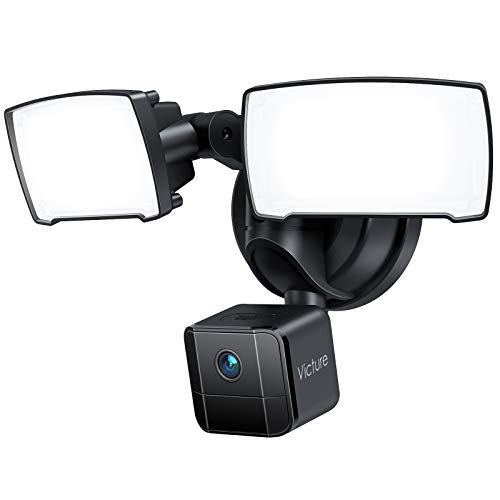 Floodlight Camera Pro, Victure Security Camera Outdoor, 24-hour Recording, Infrared Night Vision, IP65 Waterproof, Motion-Activated Light and Cam, 2500-Lumen Brightness