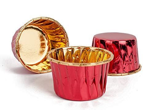 GOLDEN APPLE, Aluminum Foil Paper Mini Cake Baking Cups 50 Pack, Muffin Cupcake Baking Mold Cup Liners Baking Cups for Party Wedding Festival, cupcake liners Red in Gold