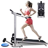 AILIEE Four-in-one Foldable Treadmill for Home Gym Portable Manual Small Treadmill with Incline for Walking Running Supine Twisting Massage Workout Treadmills for Small Spaces Exercise Equipment