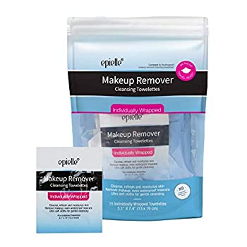 Epielle Makeup Remover Cleansing Towelettes | 15 Individual Wipes | Effectively Remove Oil Makeup and Waterproof Mascara | Alcohol Free Paraben Free Not Tested On Animals| Great for Traveling Gym and Airbnb Supplies | Valentine s Gift for Her