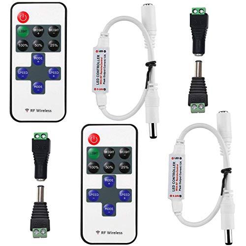2pcs Controller LED Strip (Pueden emparejarse entre sí, Señal de RF) CC 5V-24V 12A Remote Control Tira LED Controlador Cinta LED Receptor 5.5mm x 2.1mm DC Conector Adaptador Banda LED Dimmer R