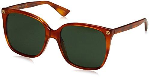 Gucci GG0022S 002 Occhiali da Sole, Marrone (Avana/Green), 57 Donna