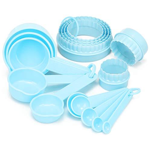 com-four® 16-teiliges Back- und Küchen-Set mit Messlöffel und Ausstechformen - Dosierlöffel und Backformen zum Kochen (16-teilig - blau)