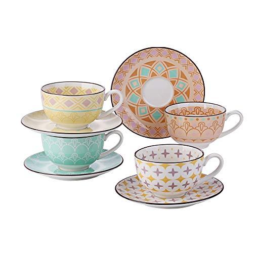 Vancasso Kaffeeservice Porzellan, Tulip 8 teilig Kaffeeset bunt für 4 Personen, Beinhaltet Kaffeetassen, Untertassen