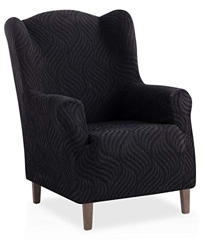 Bartali Stretch Husse für Ohrensessel Aitana - Farbe Schwarz - 1 Sitzer (von 70 bis 110 cm)