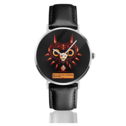 Unisex Business Casual Terrible Fate Majoras Mask Legend of Zelda Watches Quartz Leather Watch with Black Leather Band for Men Women Young Collection Gift