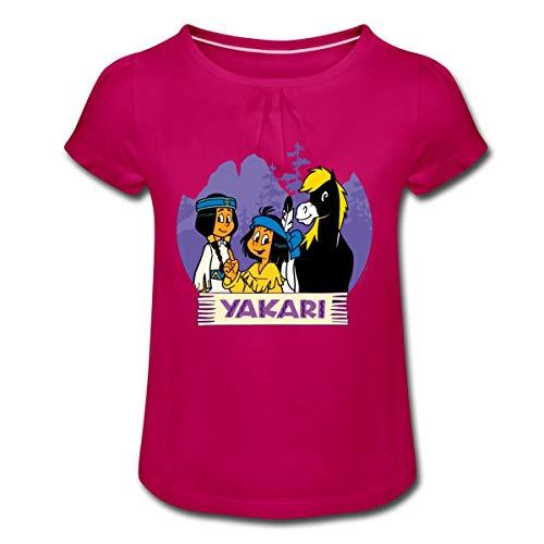 Yakari Und Regenbogen Mit Pferd Kleiner Donner Mädchen T-Shirt mit Raffungen, 6 Jahre, Fuchsia