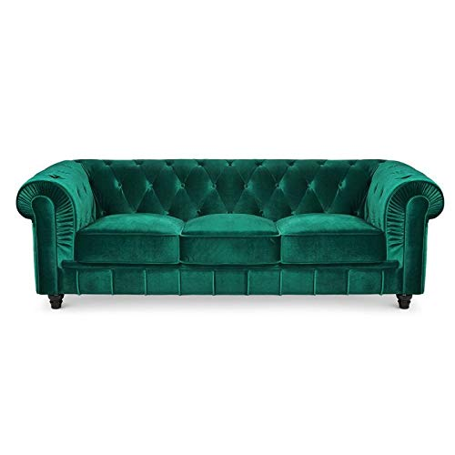 Canapé 3 places Velours Chesterfield Vert