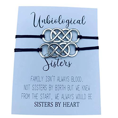 Unbiological Sister Charm Bracelets, 2pc Soul Sister Knot bracelets, Best Friend, Friendship Jewelry, BFF gifts, Adjustable Best Friend Infinity Bracelets for Women, Teens and Girls