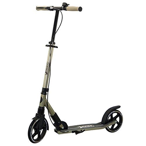 Best Sporting Big Wheel 205 Scooter High Class, City-Roller mit ergonomischem Lenker, Handbremse und Klingel, Tret-Roller in schwarz/gold