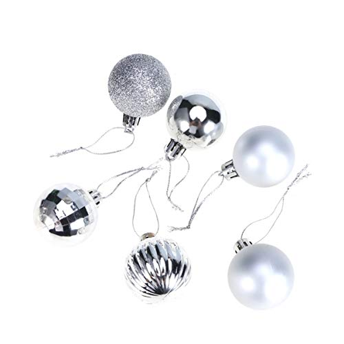 STOBOK 34pcs Christmas Ball Ornaments Shatterproof Satin Shiny Glitter Ball Decorative Bauble Xmas Pendants Christmas Tree Decorations (Silver)