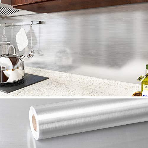 VEELIKE Papel de Pared de Vinilo Efecto Acero Inoxidable Aluminio Papel Pintado Cocina Papel Aluminio Autoadhesivo Papel Cocina Patrón Cepillado Plateado para Muebles 0.4m x 18m