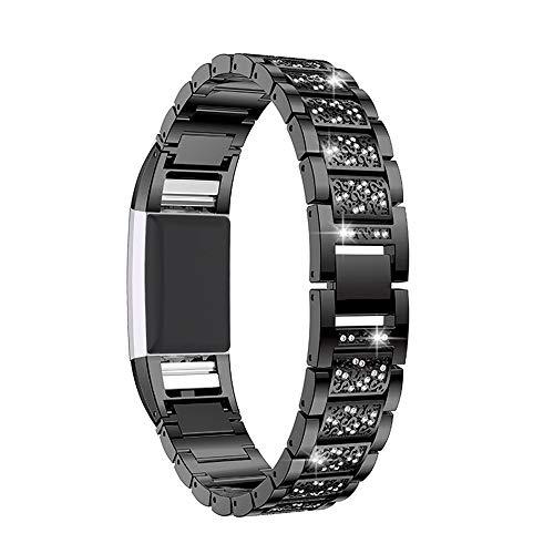 Myada Kompatibel für Fitbit Charge 2 Armband Damen Metall mit Glitzer Strass,Armband Fitbit Charge2 Ersatzband Fitbit Uhr Fitness Sport Band Armbänder Fitbit Charge 2 Zubehör für Fitbit Charge 2