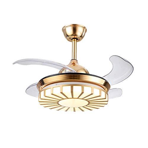 Ventilador de techo con iluminación LED 3 Velocidad Ajustable con control remoto 3 Luces de color Tiempo de mudo regulable Ventilador invisible Ventilador de techo LED moderno Lámpara de techo de la s