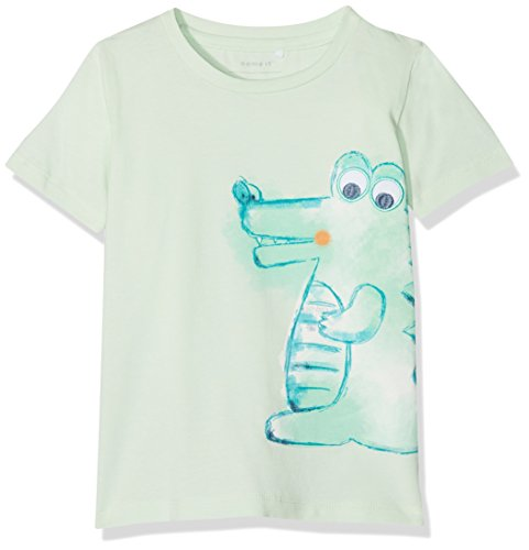 Name It Nbmdecan SS Top T-Shirt, Blanc (Dusty Aqua), 68 Bébé garçon