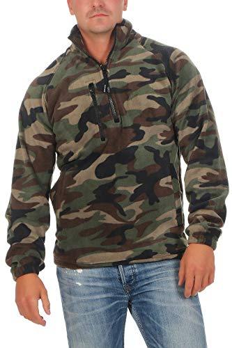 Happy Clothing Herren Camouflage Fleece Pullover halber Reißverschluss Tarnfarbe, Größe:3XL, Farbe:Camouflage