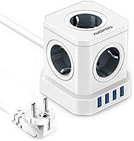 Multiprise USB Cube, Multiprise Electrique avec 5 Prises (2500W/10A) et 3.1A 4 Ports USB, Multiprise Voyage Portable avec...