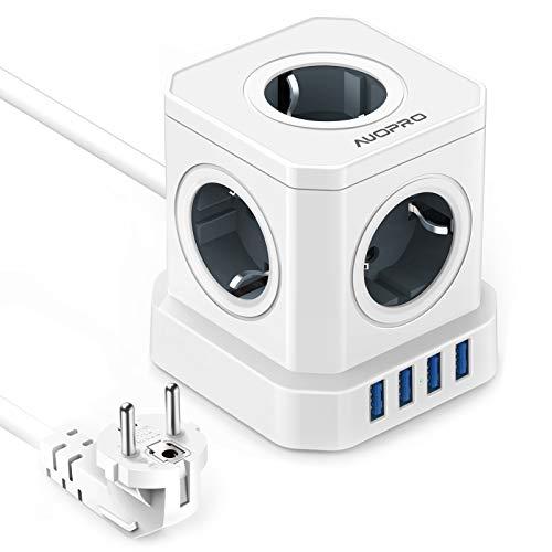 USB Steckdose Würfel, Steckdosenleiste 5-Fach Powercube, 2500W/10A, Steckdosenwürfel Mehrfachsteckdose 4 USB Ladegerät(5V / 3,1A) mit Schalter und 2M Kabel für Büro, Zuhause, Reisen, Überlastschutz