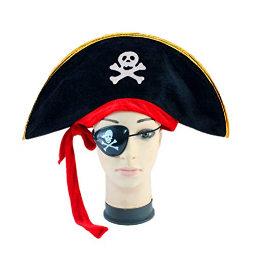 Amosfun Sombrero de Pirata con Parche en el Ojo Gorra de Disfraz de capitán Disfraces de Disfraces de Halloween para Halloween Fiesta temática de Piratas Suministros 2 Piezas