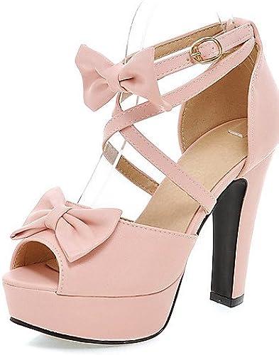 BGYHU Ggx femme Chaussures d'été Peep Toe Plateforme talons Parti & Soir Chunky Talon Bowknot Bucklenoir rose violet